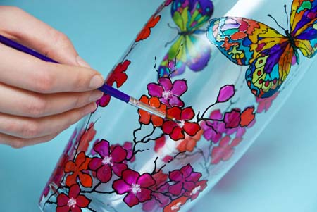 stained glass vase painting